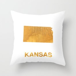 Kansas map outline Sandy brown clouded watercolor Throw Pillow