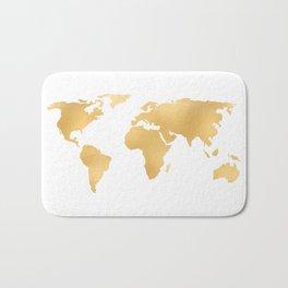 World Map Deep Gold Rush Bath Mat