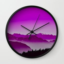 Rise above the mist. Purple Wall Clock