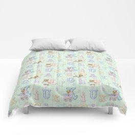 Teddy Bear Alphabet ABC's Green Comforters