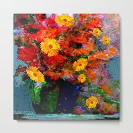 STILL LIFE PAINTING RED & YELLOW FLOWERS Metal Print