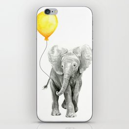 Elephant Watercolor Yellow Balloon Whimsical Baby Animals iPhone Skin