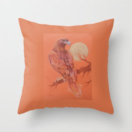Golden Eagle Fancy Illustration of fairy tale Pastel drawing Throw Pillow