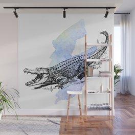 Florida Alligator on Purple Blue Green Watercolor Wall Mural