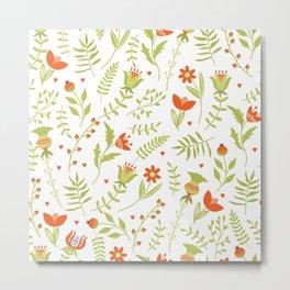 Easte various flowers leaves seamless pattern  Metal Print