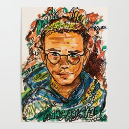 rapper,colourful,colorful,poster,wall art,fan art,music,hiphop,rap,logicc,lyric Poster