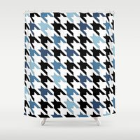 tooth Shower Curtains featuring Blue Tooth by Project M