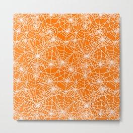 Pumpkin Cobwebs Metal Print