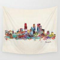 minneapolis Wall Tapestries featuring Minneapolis Minnesota skyline by bri.buckley