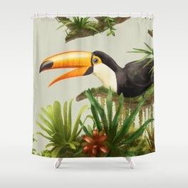 Toco Toucan vintage illustration. Shower Curtain