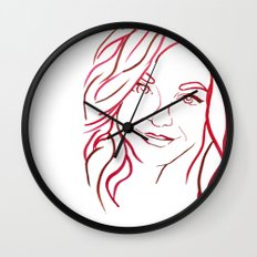 Red Portrait Wall Clock
