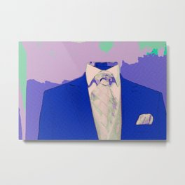 No Head Suit Pop Art Metal Print