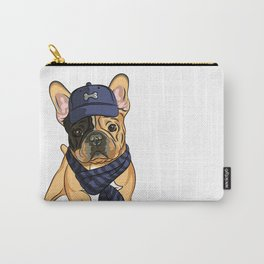Cute puppy pug in baseball hat and scarf. Carry-All Pouch
