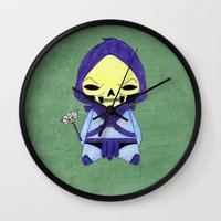 skeletor Wall Clocks featuring A Boy - Skeletor by Christophe Chiozzi