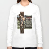 lara croft Long Sleeve T-shirts featuring Lara Croft Japan by memo_alatouly