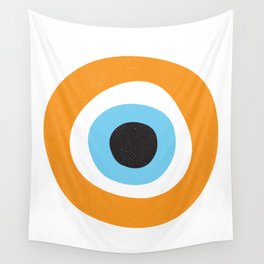 Orange Evil Eye Symbol Wall Tapestry