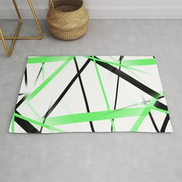 Criss Crossed Lime and Black Stripes on White Rug