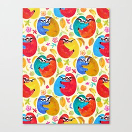 Happy Huggy Fruit Loving Sloths Canvas Print