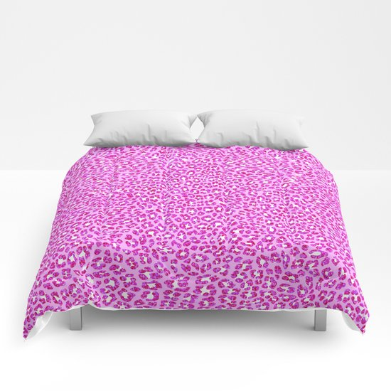 Light Pink Glitter Cheetah Print Comforters