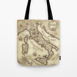Vintage map of Italy Tote Bag