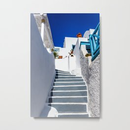 Narrow streets of Santorini Metal Print