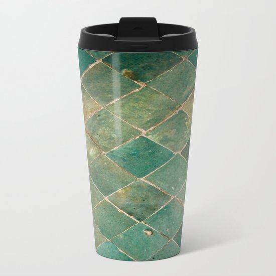 Green Moroccan Pattern Tile Metal Travel Mug