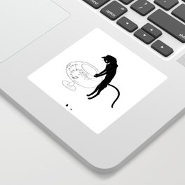 """Théophile Steinlen """"Cats: Pictures without Words (Cat and fishbowl)"""" (1) Sticker"""
