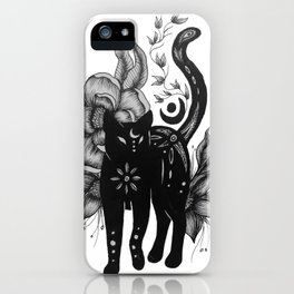 Black Floral Moon Cat iPhone Case