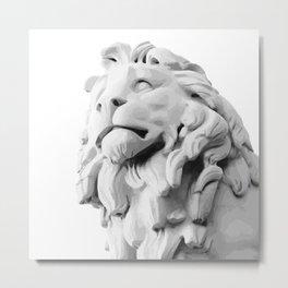 Stone Lion - Black&White Metal Print