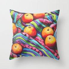 Fruit on Striped Cloth Throw Pillow