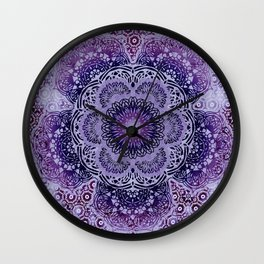 Lilac Boho Brocade Mandala Wall Clock