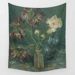 Small Bottle with Peonies and Blue Delphiniums Wall Tapestry