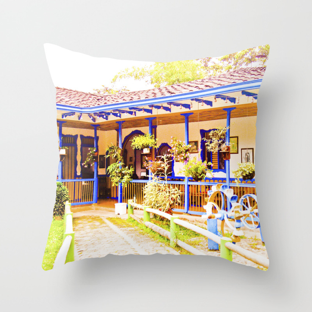 Great House, Beautiful Colors Of My Land. Throw Pillow by Alejandrasweet PLW889084