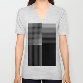 Geometric abstraction, black and white Unisex V-Neck