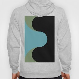 A strong Blue circular wave entering a green and black seaside. Hoody