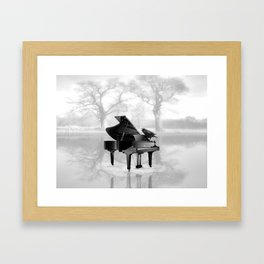 Crow on Grand Piano in Water, Musical Interlude A225 Framed Art Print