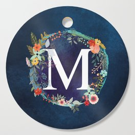 Personalized Monogram Initial Letter M Floral Wreath Artwork Cutting Board