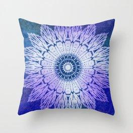 tie dye sunflower mandala in blues Throw Pillow