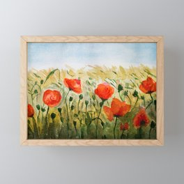 Poppy Flower Field Framed Mini Art Print