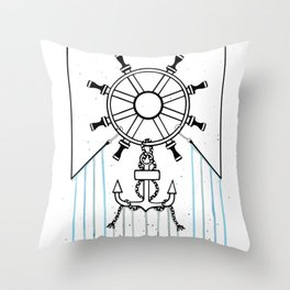Steering Helm and Anchor Throw Pillow