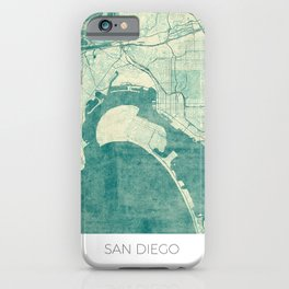 San Diego Map Blue Vintage iPhone Case