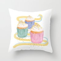 sprinkles Throw Pillows featuring Sprinkles by Hayley Bowerman Design