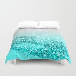 Silver Gray Aqua Teal Ocean Glitter #1 #shiny #decor #art #society6 Duvet Cover