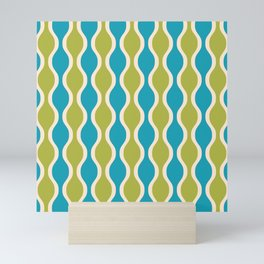 Classic Retro Ogee Pattern 852 Turquoise and Olive Mini Art Print