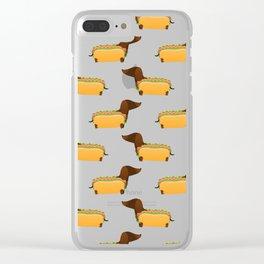 Wiener Dog in a Bun Clear iPhone Case