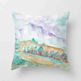Early spring in the mountains Throw Pillow