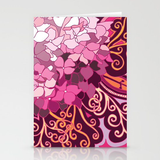 zentangle inspired Hortensia_rose pink doodle Stationery Cards