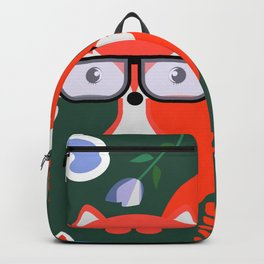 Fox with glasses and flowers Backpack