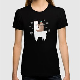 Sloth Riding Llama Funny Christmas Scarf Santa Hat T-shirt