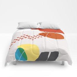 Shape & Hue Series No. 3 – Yellow, Orange & Blue Modern Abstract Comforters